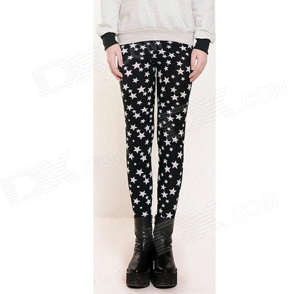 Casual Star Pattern Slim Leggings - Black + White (Size M)