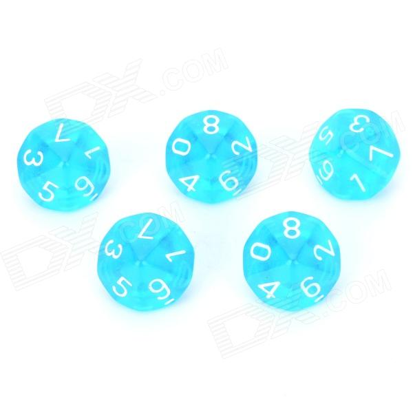 Acrylic Polyhedral Dice for Board Game - Translucent Light Blue (5 PCS) acrylic polyhedral dice for board game translucent light blue 5 pcs