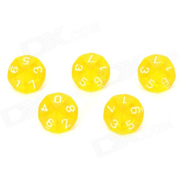 Acrylic Polyhedral Dice for Board Game - Translucent Yellow (5 PCS) acrylic polyhedral dice for board game translucent light blue 5 pcs