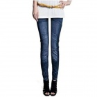 Casual Fold Wrinkles Style Jean Leggings - White + Blue (Size M)