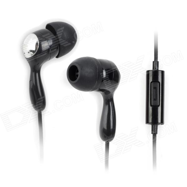 Universal 3.5mm Jack Wired In-ear Water Resistant Headset w/ Microphone - Black