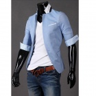 Fashionable Men's Wild Sleeve Collar Small Suit - Sky Blue (Size-XXL)