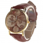 Retro-Muster Continental Karte Cow Split-Leder-Band-Armbanduhr Quarz Analog - Golden Brown +