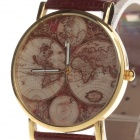 Retro Continental Map Pattern Cow Split Leather Band Quartz Analog Wrist Watch - Golden + Brown