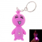 Facial Expression Style LED Keychain - Purple Pink (3 x AG10)