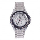BADACE 2509 Men's Stainless Steel Band Quartz Analog Wrist Watch w/ Compass Dial - Black + Silver