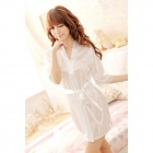 Sexy Silk Nightdress + T-back for Women - White