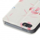 Fashionable Flower Pattern Protective PU Leather Case for IPHONE 5 / 5S - White + Pink