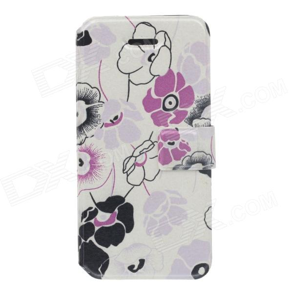 Fashionable Flower Pattern Protective PU Leather Case for IPHONE 5 / 5S - White + Pink + Black