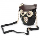 Fashion Cute Owl Style PU Leather Messengers for Women - Black