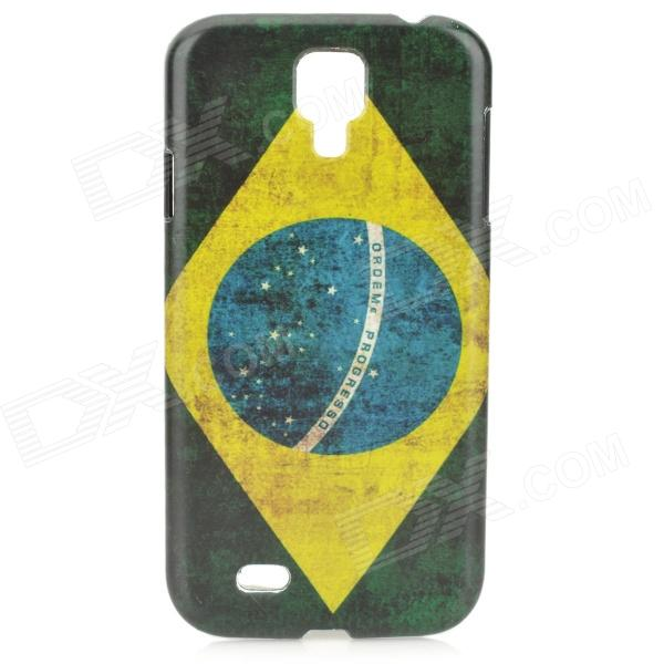 Brazil National Flag Pattern Protective PC Case for Samsung Galaxy S4 i9500 protective usa flag pattern back case w crystal for samsung galaxy s4 i9500 multicolored