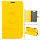 Oracle Style Protective PU Leather Case for Samsung N7100 - Yellow