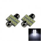 Festoon 31mm 5W 400lm 10 x SMD 5630 LED White Car Reading Light / Roof Lamp - (12V / 2 PCS)
