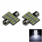 Festoon 31mm 6W 500lm 12-SMD 5630 LED White Car Reading Light / Roof Lamp / Dome Bulb (12V / 2 PCS)