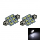 Festoon 36mm 3W 300lm 6-SMD 5630 LED White Car Reading Light / Roof Lamp / Dome Bulb - (12V / 2 PCS)