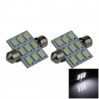 Festoon 36mm 4W 350lm 9-SMD 5630 LED White Car Reading Light / Roof Lamp / Dome Bulb - (12V / 2 PCS)