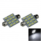 Festoon 41mm 6W 500lm 12-SMD 5630 LED White Car Reading Light / Roof Lamp / Dome Bulb (12V / 2 PCS)