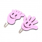 GG002 Creative Hand / Foot Style Plastic + Stainless Steel Sticky Hooks - Pink (2 PCS)