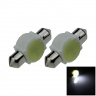 Festoon 31mm 3W 200lm COB LED Ceramic White Car Reading Light / Roof Lamp / Dome Bulb (12V / 2 PCS)