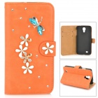 PUDINI WB-0110S4 Dragonfly Style PU Leather + Rhinestone Case for Samsung Galaxy S4 i9500 - Orange