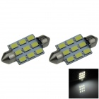 Festoon 39mm 4W 350lm 9 x SMD 5630 LED White Car Reading Light / Roof Lamp / Dome Bulb (12V / 2 PCS)