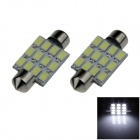 Festoon 39mm 36W 500lm 12-SMD 5630 LED White Car Reading Light / Roof Lamp / Dome Bulb (12V / 2 PCS)