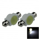Festoon 36mm 3W 200lm COB LED Ceramic White Car Reading Light / Roof Lamp / Dome Bulb (12V / 2 PCS)