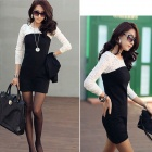 Fashion Lace Match Cotton Long Sleeve Dress - Black + White (L)