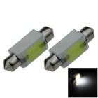 Festoon 39mm 3W 200lm COB LED Ceramic White Car Reading Light / Roof Lamp / Dome Bulb (12V / 2 PCS)