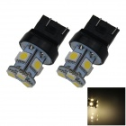 7443/7440/T20 1W 100lm 8 x SMD 5050 LED Warm White Car Steering / Brake / Tail Light - (12V / 2 PCS)