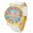 Artificial Wave Pattern PU Leather Band Quartz Wrist Watch - White (1 x 377)