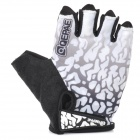 Qepae 043B Outdoor Cycling Lycra  Half-finger Gloves - Black + White + Multicolored (L / Pair)