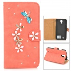 PUDINI WB-0110S4 Dragonfly Style PU Leather + Rhinestone Case for Samsung Galaxy S4 - Watermelon Red