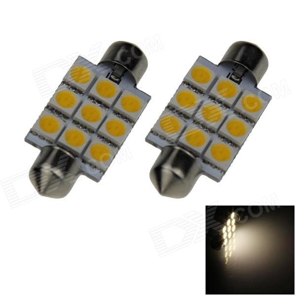 Festoon 41mm 1.8W 150lm 9 x SMD 5050 LED Warm White Light Car Reading / Dome Lamp - (12V / 2 PCS) lx 3w 250lm 6500k white light 5050 smd led car reading lamp w lens electrodeless input 12 13 6v