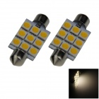 Festoon 41mm 1.8W 150lm 9 x SMD 5050 LED Warm White Light Car Reading / Dome Lamp - (12V / 2 PCS)