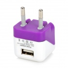 USB to Micro USB Data Charging Cable + EU Plug Power Adapter for Samsung - Purple + White