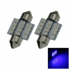 Festoon 31mm 1.2W 100lm 12 x SMD 1210 LED Blue Light Car Reading / Roof / Dome Lamp - (12V / 2 PCS)