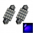 Festoon 36mm 1.6W 140lm 16 x SMD 1210 LED Blue Light Car Reading / Roof / Dome Lamp - (12V / 2 PCS)