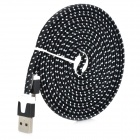 Universal Micro USB Male to USB Male Nylon Housing Data Sync & Charging Cable - Black (290cm)