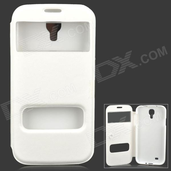 Protective Flip Open Case w/ Display Window / Suction Cup for Samsung Galaxy S4 i9500 - White protective flip open pu leather case w display window for samsung s4 i9500 white black