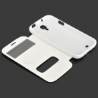 Protective Flip Open Case w/ Display Window / Suction Cup for Samsung Galaxy S4 i9500 - White