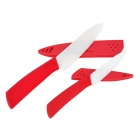 "RIMON T6040-R Ceramic Blade 6"" Chef Knife + 4"" Fruit Knife + Peeler Set - Red + White"