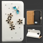 PUDINI WB-0110S4 Protective Crystal Dragonfly Style PU Leather Case for Samsung Galaxy S4 i9500