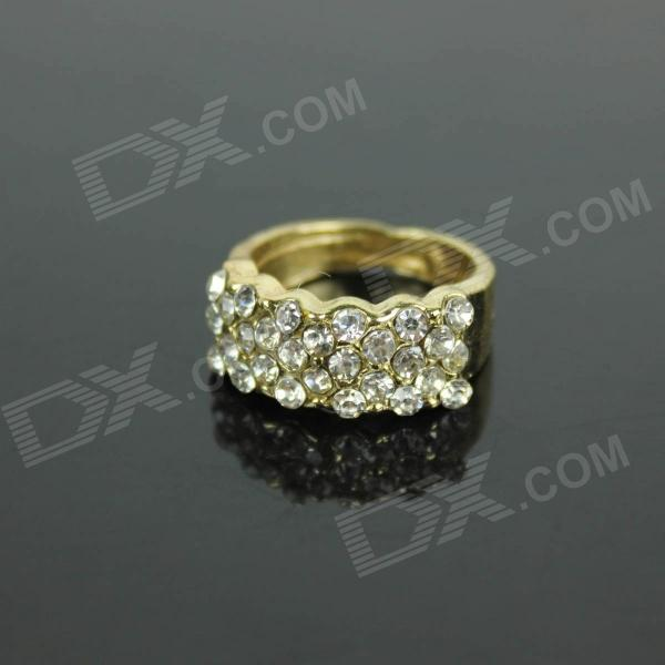 Stylish Zinc Alloy Ring w/ Rhinestone - Golden