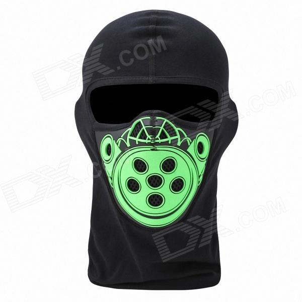 QNGLONIN BR-02 Motorcycle Riding Outdoor Wind Dust Warm Mask - Black + Green protective outdoor war game military skull half face shield mask black