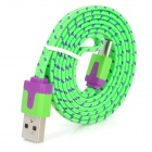 USB to Micro USB Sync Data/Charging Woven Cable for Samsung / Xiao / HTC - Green + Purple
