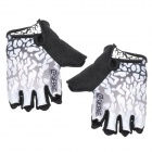Qepae 043B Outdoor Cycling Lycra Half-finger Gloves - Black + White + Multicolored (XL / Pair)