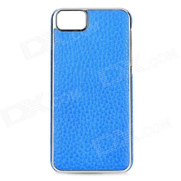 TOTALSTAR TS-02-3 Stylish Protective Electric Plated Frame PU Back Case for IPHONE 5 / 5S - Sapphire