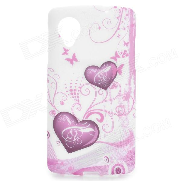 Heart Pattern Protective TPU Back Case for LG Nexus 5 - Purple + White dots pattern flexible tpu case for iphone 7 plus 5 5 inch purple