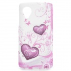 Heart Pattern Protective TPU Back Case for LG Nexus 5 - Purple + White
